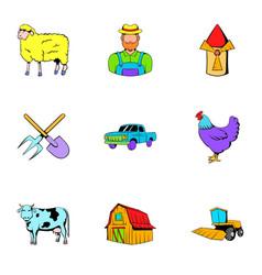 ranch icons set cartoon style vector image vector image