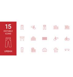 15 urban icons vector image