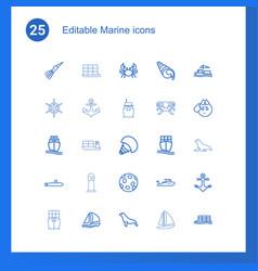 25 marine icons vector