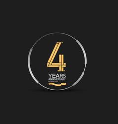 4 years golden anniversary logotype golden number vector