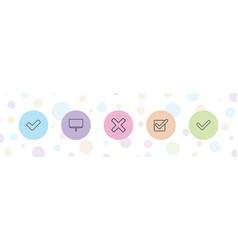 5 checkmark icons vector