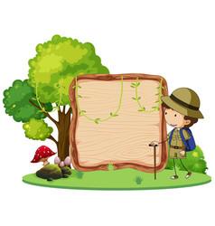 a camping boy banner vector image