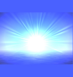 Abstract blue sunrise background vector