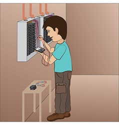 an electrician technician troubleshooting in vector image