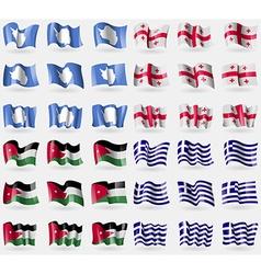 Antarctica Georgia Jordan Greece Set of 36 flags vector