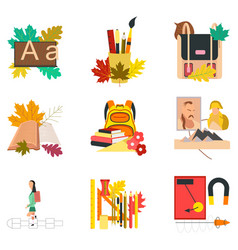 Assembly flat icons the first of september vector