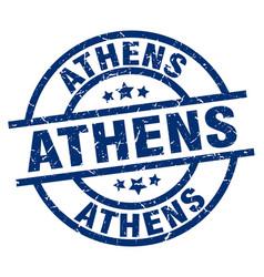 Athens blue round grunge stamp vector