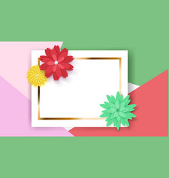 background with rectangle frame and flowers vector image