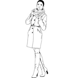 beautiful slim girl in casual clothes vector image