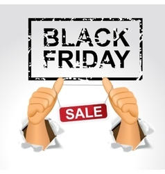 black friday sale and man giving the thumbs up vector image