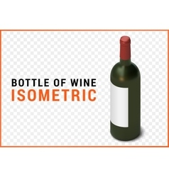 bottle of wine isometric flat vector image