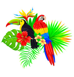 Bright tropical composition with parrot toucan vector