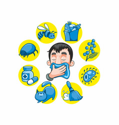 Cartoon colorful allergy collection vector