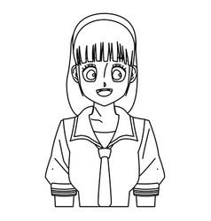 cartoon girl anime character outline vector image