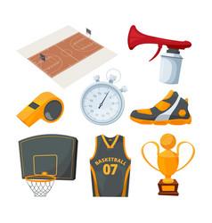 cartoon icons set various basketball elements vector image
