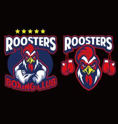 Chicken mascot boxing club vector