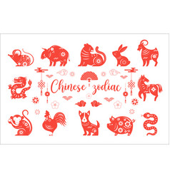 chinese new year zodiac animals symbols vector image