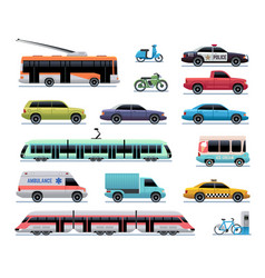 City transport cartoon car bus and truck tram vector