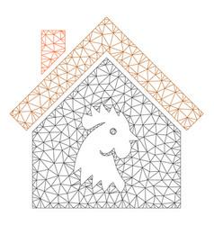 Cock house polygonal frame mesh vector