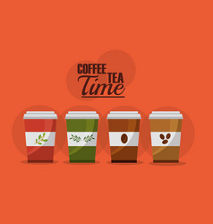 coffee and tea time set disposable paper cups vector image