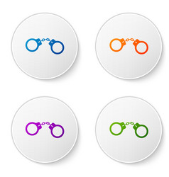 Color handcuffs icon isolated on white background vector
