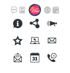 communication icons contact mail signs vector image
