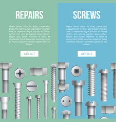Construction shop advertising flyers with bolts vector