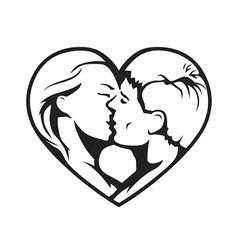 couple kissing in heart vector image