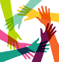 Creative Colorful Hand Connection with Teamwork vector image