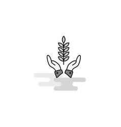 crops in hands web icon flat line filled gray icon vector image
