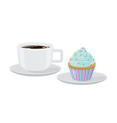 Cupcake and coffee poster vector