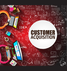 Customer acquisition concept with doodle design vector