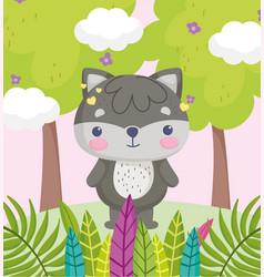cute animals little cartoon raccoon in forest vector image