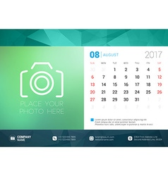 Desk Calendar Template for 2017 Year August Design vector image