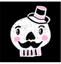doodle cartoon skull with mustaches wearing top vector image