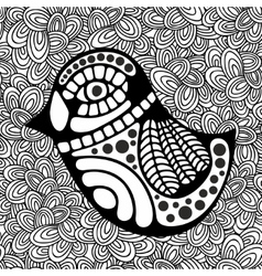 Doodle pattern with black and white bird image for vector image