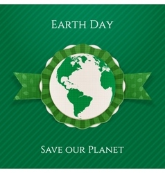Earth Day circle Banner and festive Ribbon vector