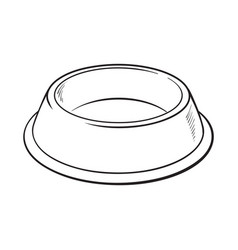 Empty green shiny plastic bowl for pet cat dog vector