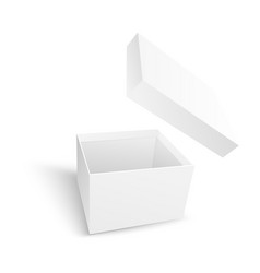 Empty open white paper box with flying cover vector