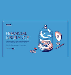 financial insurance isometric landing page banner vector image