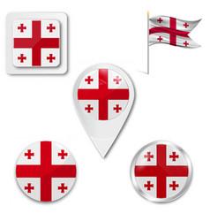 Flag button series - georgia vector