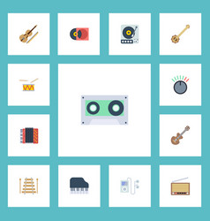 flat icons knob mp3 player fiddle and other vector image