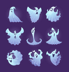 Funny ghost halloween scary characters little vector