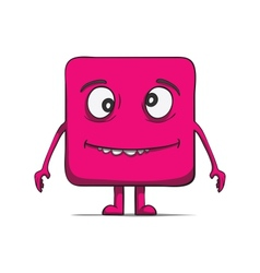 Funny stupid cube dude square character vector