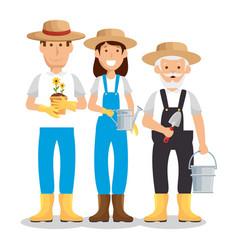 Gardeners avatars characters icon vector