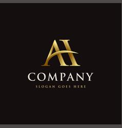 Gold elegant monogram letter ah logo icon vector
