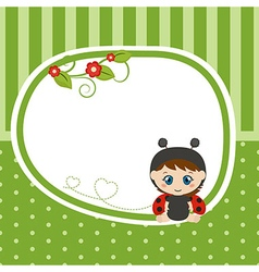 Greeting card with baby dressed as ladybug vector