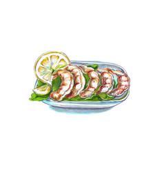 Grilled shrimps or prawns vector
