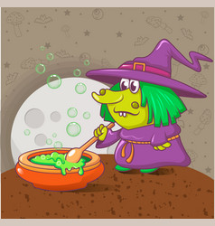halloween witch concept background cartoon style vector image