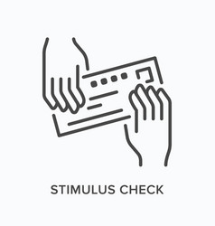 hands giving bank check flat line icon vector image